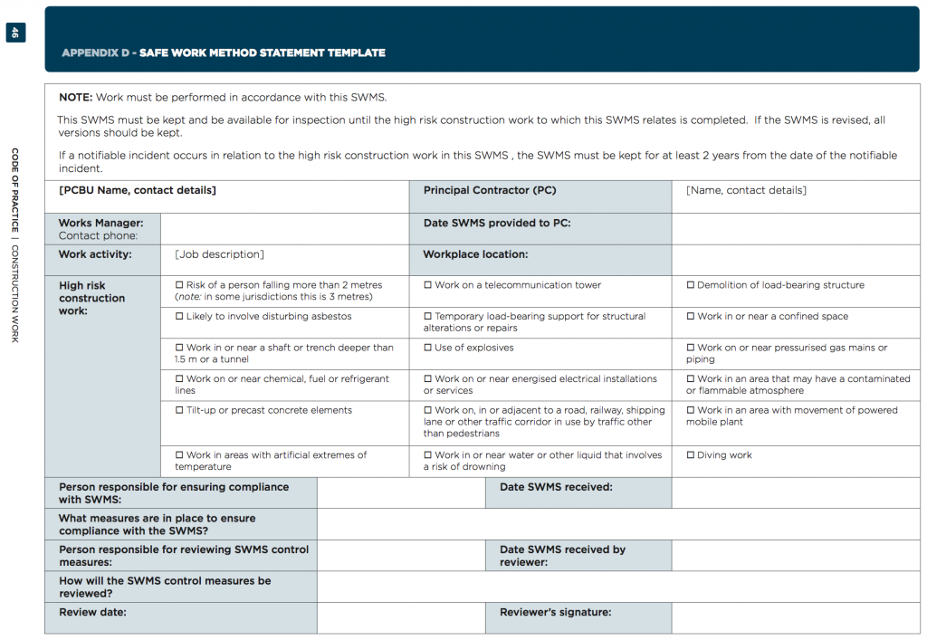 ... Method Statement Look Like? The Following 2 Images Are An Example  Template SWMS Supplied By Safe Work Australia. Have A Look On Pages 46 And  47 Of The ...  Method Statements Template